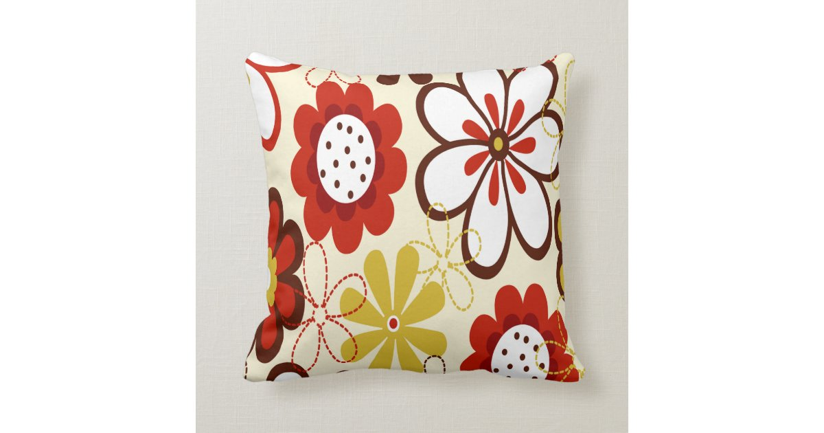 Red And Tan Decorative Pillows : Red, Yellow and Brown Flowers Throw Pillow Zazzle