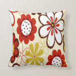 Red, Yellow and Brown Flowers Throw Pillow
