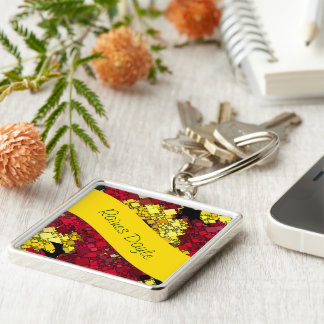 Red, Yellow and Gold Mini Box Background Template Keychain