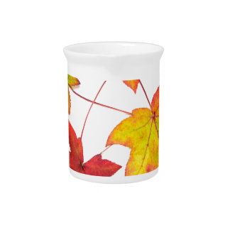Red yellow and green autumn leaves beverage pitcher