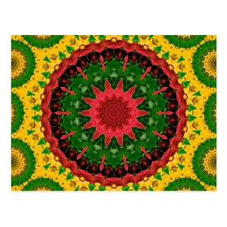 Red, Yellow and Green Kaleidoscope Mandala Post Card