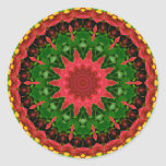 Red, Yellow and Green Kaleidoscope Mandala Stickers