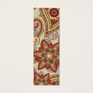 Red, yellow and green paisley mini business card