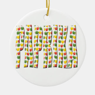 Red Yellow and green paprika patterns. Double-Sided Ceramic Round Christmas Ornament