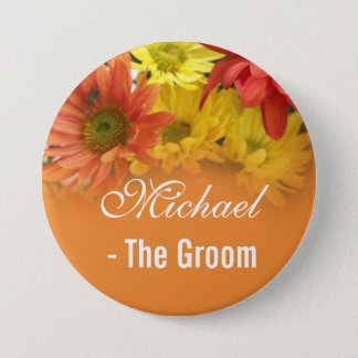 Red, yellow and orange daisy bride, groom wedding button