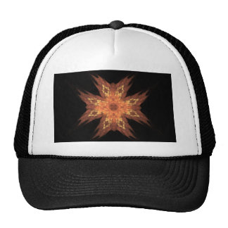 Red, Yellow, and Orange Fractal Art Flame on Black Trucker Hat