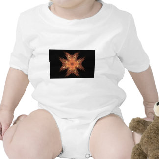 Red, Yellow, and Orange Fractal Art Flame on Black Shirts