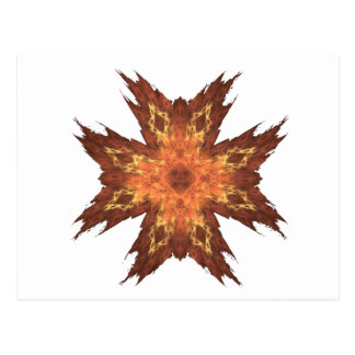 Red, Yellow, and Orange Fractal Art Flame Postcard