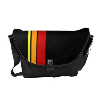 Red Yellow and Orange stripe pattern messenger bag