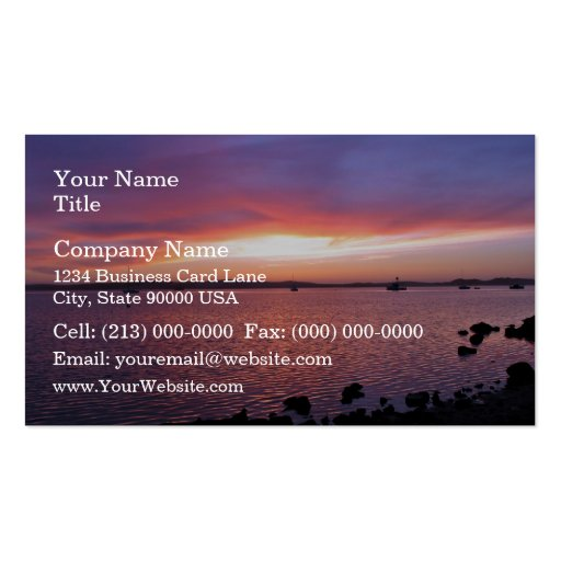 Red, Yellow, and Pink Sunset with Ocean and Clouds Double-Sided Standard Business Cards (Pack Of 100)