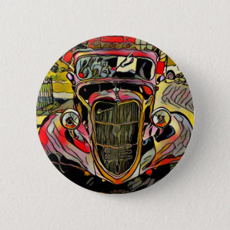 Red Yellow Artistic Vintage Auto Pinback Button