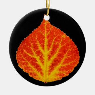 Red & Yellow Aspen Leaf #10 Ceramic Ornament