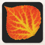 "Red &amp; Yellow Aspen Leaf #10 Square Paper Coaster<br><div class=""desc"">My painting of an aspen leaf in the bright yellows and reds of fall!</div>"