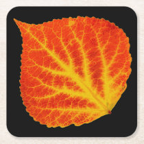 Red & Yellow Aspen Leaf #10 Square Paper Coaster