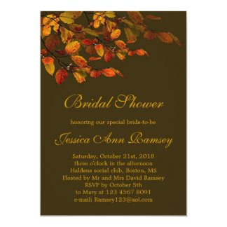 Red, yellow autumn leaves Bridal Shower Invitation