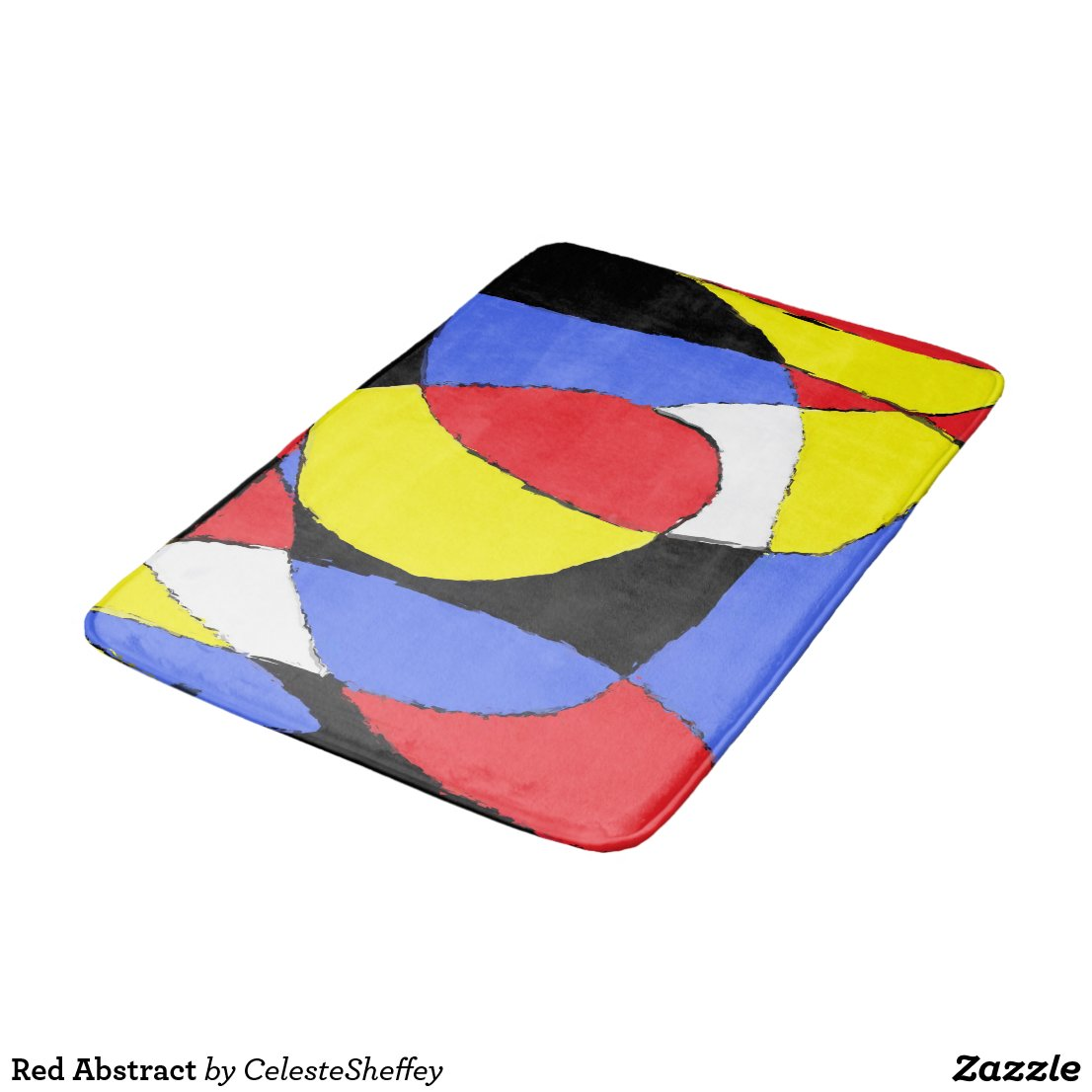 Red, Yellow, Black and Blue Abstract 8230 Bath Mat