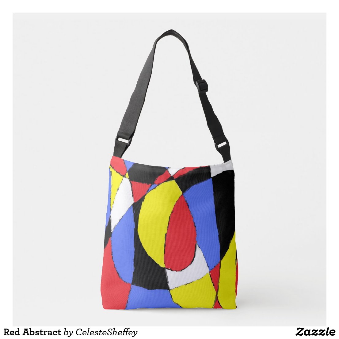 Red, Yellow, Black and Blue Abstract 8230 Crossbody Bag