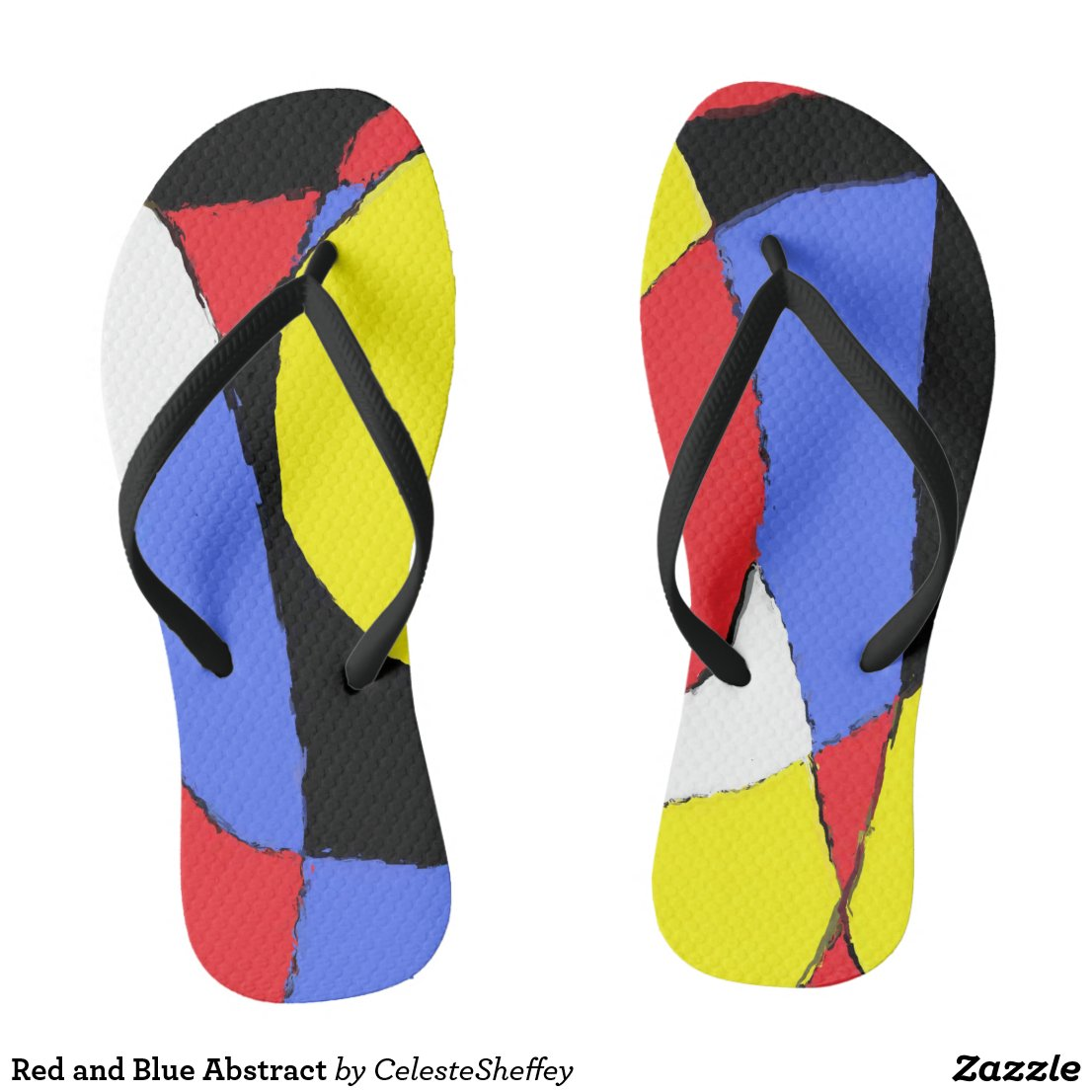 Red, Yellow, Black and Blue Abstract 8230 Flip Flops
