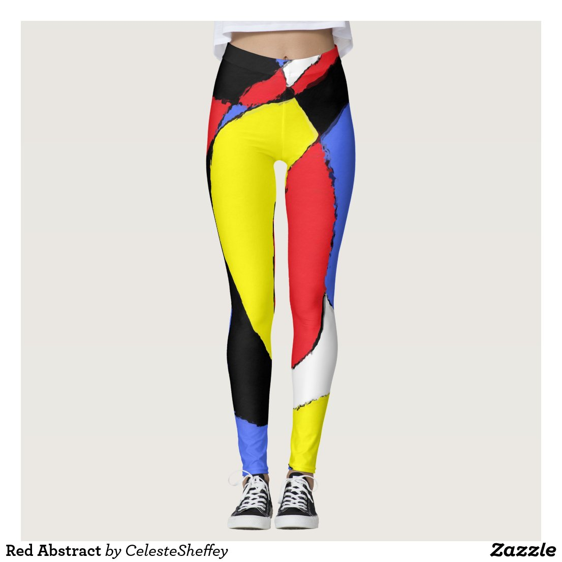Red, Yellow, Black and Blue Abstract 8230 leggings