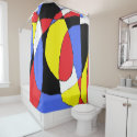 Red, Yellow, Black and Blue Abstract 8230 Shower Curtain