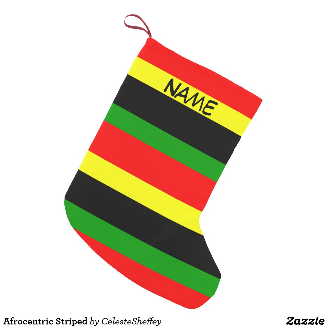 Red, Yellow, Black and Green Christmas Stocking