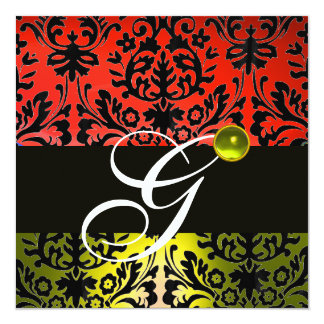 RED YELLOW BLACK DAMASK MONOGRAM Topaz Personalized Announcements