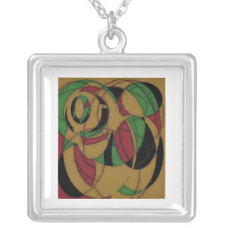 Red Yellow Black Green Abstract Silver Necklace