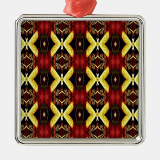 Red Yellow Black Modern Lattice Pattern Metal Ornament