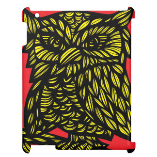 Red Yellow Black Owl Artwork Drawing iPad Cover