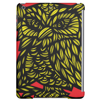 Red Yellow Black Owl Artwork Drawing iPad Air Cases