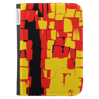 Red Yellow Black Retro Abstract Art Deco Kindle Case
