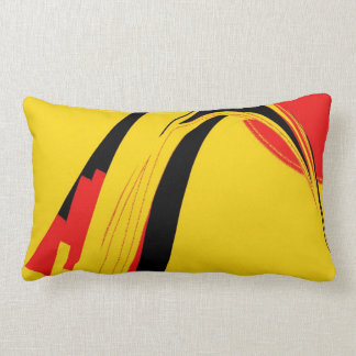 Red Yellow Black Retro Abstract Art Throw Pillow