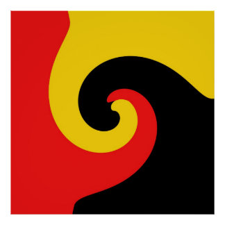 Red Yellow Black Retro Swirl Painting Abstract Art Poster