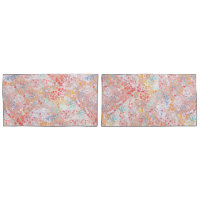 Red Yellow Blue Abstract Contemporary Floral Pillowcase