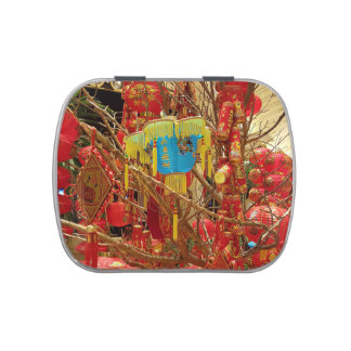 Red Yellow Blue Asian Artistic Lanterns Jelly Belly Tins