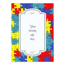Red, Yellow & Blue Autism Puzzle Invitation