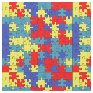 Red, Yellow & Blue Autism Puzzle Pattern Fabric