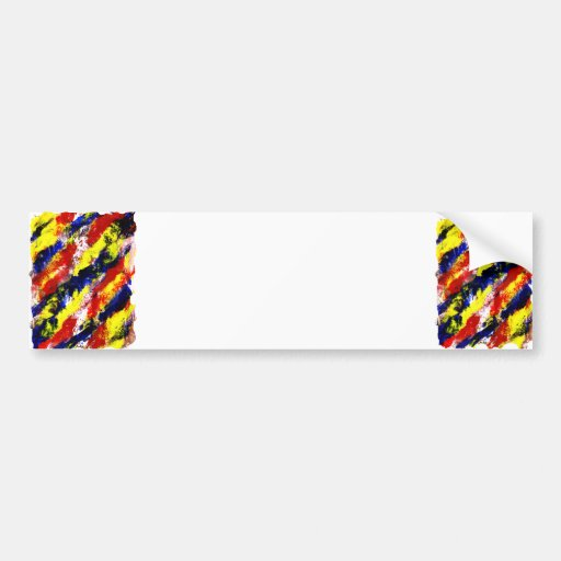 Red Yellow Blue bright colour abstract smear Bumper Stickers