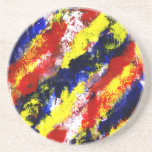 Red Yellow Blue bright colour abstract smear Coaster