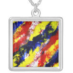 Red Yellow Blue bright colour abstract smear Custom Necklace