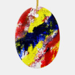 Red Yellow Blue bright colour abstract smear Ornaments