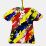 Red Yellow Blue bright colour abstract smear Christmas Tree Ornaments