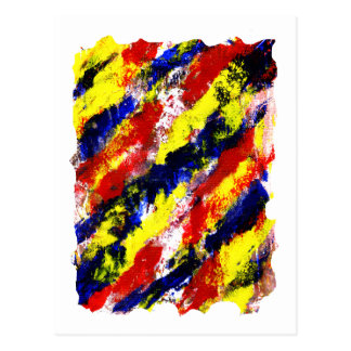 Red Yellow Blue bright colour abstract smear Post Cards