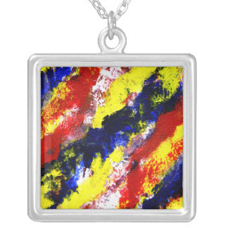 Red Yellow Blue bright colour abstract smear Silver Plated Necklace