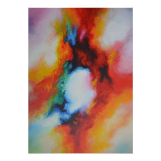 Red Yellow Blue Green Abstract Painting Poster