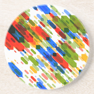 Red Yellow Blue Green Colorful Darts Pattern Coaster