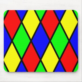 Red Yellow Blue Green Diamond Harlequin Pattern Mouse Pad