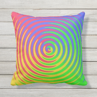 Red Yellow Blue Green Rainbow Outdoor Pillow