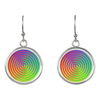 Red Yellow Blue Green Rainbow Spiral Drop Earrings