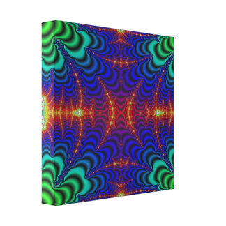 Red Yellow Blue Green Wormhole Fractal Canvas Print